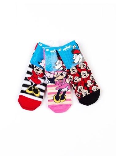 Minnie Mouse  Lisanslı 6 Çift Soket Çorap 17069 Kırmızı